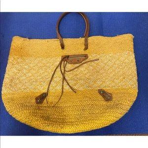 BALENCIAGA Yellow Straw Oversized Beach Bag AUTH